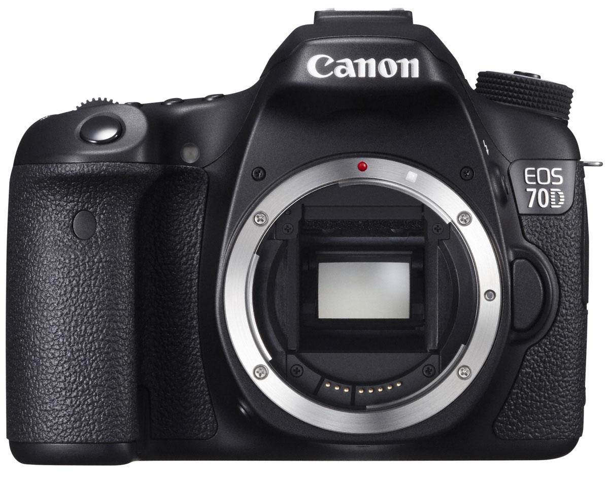 Canon EOS 70D Body цифровая зеркальная фотокамера8469B004Сохраняйте важные моменты жизни, делая потрясающие снимки или видеозаписи в формате Full HD с помощью высокопроизводительной камеры Canon EOS 70D со скоростью съемки 7 кадров/с при полном разрешении, усовершенствованной 19-точечной системой автофокусировки и уникальной технологией двухпиксельного CMOS-автофокуса компании Canon.CMOS-датчик с 20,2 млн. пикселей и процессор DIGIC 5+:Высокопроизводительная камера EOS 70D оснащена CMOS-датчиком APS-C с 20,2 млн. пикселей и мощным процессором обработки изображения DIGIC 5+, что позволяет получать безупречно четкие 14-битные изображения и передавать мельчайшие детали. Естественность цветопередачи дополнена плавностью переходов полутонов.Поймайте момент:Получать превосходные фотографии быстро перемещающихся объектов (как, например, в спорте или дикой природе) теперь просто благодаря использованию серийной съемки со скоростью 7 кадров/с при полном разрешении и высокопроизводительной 19-точечной системы автофокусировки крестового типа, обеспечивающей высокую точность и скорость реакции камеры для запечатления важных моментов на фотографиях высокого качества.Двухпиксельный CMOS-автофокус:EOS 70D - это первая камера, в которой используется технология двухпиксельного CMOS-автофокуса компании Canon, обеспечивающая быстрое и плавное отслеживание автофокуса при видеосъемке. Каждый пиксел имеет два фотодиода, которые могут считываться как независимо друг от друга при использовании автофокуса, так и совместно при создании фотографий.Видео в формате Full HD:Камера EOS 70D позволяет создавать видеозаписи превосходного качества в формате Full HD (1080p) благодаря быстрой и точной автофокусировке, обусловленной использованием уникальной технологии двухпиксельного CMOS-автофокуса компании Canon. Раскройте свой творческий потенциал с помощью стереозвука, полного ручного управления и выбора скорости видеозаписи.Обмен данными и управление с помощью Wi-Fi:Возможность удаленной съемки с 