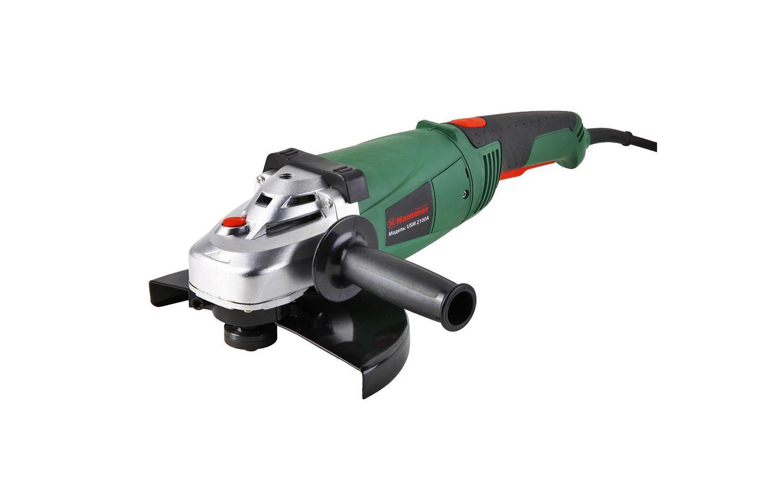 Угловая шлифмашина Hammer USM2100AUsm2100aМощная углошлифовальная машина Hammer USM2100A позволит легко и удобно производить работы по шлифовке и резке таких материалов как металл, кирпич, бетон и многих других. Она оснащена функцией блокировки шпинделя, двухпозиционной боковой рукояткой и защитным кожухом.Углошлифовальная машина (болгарка) Hammer USM2100A - это высокоэффективный электроинструмент, предназначенный для обдирочных, отрезных и шлифовальных работ по металлу и бетону. В качестве режущего элемента используется диск диаметром 230 мм. Данная модель способна работать под углом к поверхности обрабатываемого материала. Эргономичная рукоятка с эластомерным покрытием обеспечивает надежное удержание болгарки в руках и исключает возможность ее выскальзывания. Замена щеток осуществляется без разборки корпуса инструмента. Углошлифовальная машина Hammer USM2100A оснащена двигателем мощностью 2100 Вт, системой плавного пуска, функцией фиксации шпинделя, блокировкой кнопки включения, защитным кожухом, электронной регулировкой частоты вращения и многопозиционной боковой рукояткой.Максимальный диаметр диска: 125 мм. Напряжение: 230 В/50 Гц.