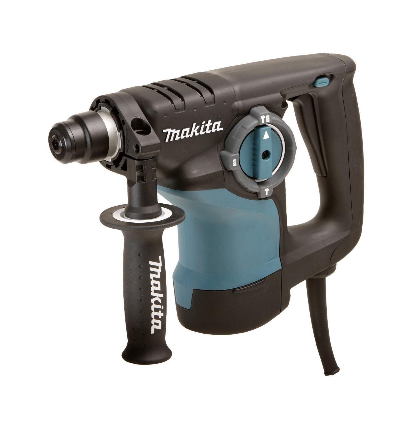 Перфоратор Makita HR2810, SDS+HR 2810Makita HR 2810 - трехрежимный профессиональный перфоратор. Рассчитан на сверление прочных материалов. Три рабочих режима предназначены для обычного и ударного сверления бетона, камня и кирпича, а также для безударного сверления керамики, дерева, металла и пластмассы. Трехрежимный компактный перфоратор Makita HR 2810 имеет отличительную особенность - двигатель расположен вертикально, что особенно удобно при потолочных работах. Электрический перфоратор Makita HR 2810совершает удар при помощи электропневматического механизма. Силовое давление на боек, приводящий в движение бур, оказывает поршень, на который производится воздействие сжатым воздухом. Если устройство работает на холостом ходу - удар не производится. Так как скорость вращения регулируется, это дает возможность выбора оптимального режима сверления. Инструмент имеет отличные рабочие характеристики благодаря усовершенствованной конструкции реверса и возможности установки долота в 40 угловых положениях - это облегчает работу в различных положениях. Предохранительная разрывная муфта предотвращает рывки инструмента в случае заклинивания бура в арматуре. Устройство оснащено двойной защитной изоляцией, имеется возможность подключения системы пылеудаления, также предусмотрена электронная регулировка количества оборотов.Особенности:Отсутствие удара на холостом ходу, Вертикальное расположение двигателя, Максимальный диаметр сверления (полой коронкой): 70 мм,Антивибрационные ручки,Антивибрационная боковая рукоятка, Эргономичная рукоятка с резиновыми накладками,Электронный контроль регулировки скорости,Уровень звуковой мощности - 100 дБ(А),Класс безопасности - 2.
