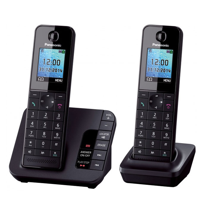 Panasonic KX-TGH222 RUB, Black DECT-телефон panasonic kx tg8061 rub dect телефон