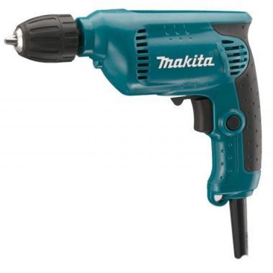 Дрель безударная Makita 64136413Дрель Makita 6413 - небольшая, легкая и удобная в работе дрель с регулируемым скоростным режимом и быстрозажимным патроном для удобной смены насадок. Данная модель предназначена для сверления в дереве, металле, пластике, и отлично подходит для выполнения работ одной рукой. Дрель Makita 6413 предназначена для сверления отверстий, а с соответствующей оснасткой - для работы с крепежными элементами. Инструмент оснащен двигателем мощностью 450 Вт. Количество оборотов регулируется электроникой. Курковый выключатель оснащен функцией акселератора - чем сильнее нажим, тем выше число оборотов.Дрель имеет функцию реверса и оборудована удобным переключателем для изменения направления вращения. Быстрозажимной патрон дрели Makita 6413 устраняет необходимость использования специального инструмента для установки и замены рабочих насадок, а эргономичная прорезиненная рукоятка обеспечивает более комфортную работу. Конструкция с шариковыми подшипниками и линейный дизайн дрели гарантируют отличную балансировку и позволяют сверлить отверстия более точно.Уровень звуковой мощности - 93±3 дБ(А).