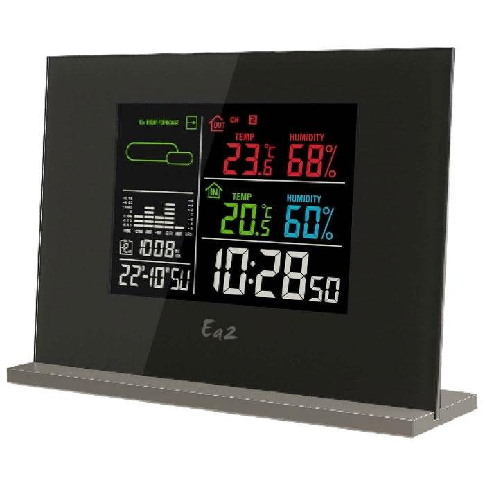 Ea2 EN209 погодная станцияEN209Погодная станция Ea2 EN209 с цветным дисплеем отображает различные климатические показатели: влажность, температуру, давление, тенденцию изменения атмосферного давления. С ее помощью можно получить прогноз погоды на ближайшие 12 часов. Встроенная память запоминает минимальные и максимальные показатели. Станция также оснащена удобным будильником и часами.Обычный календарь, дата, день неделиАнимированный прогноз погоды (Ясно, Переменная облачность, Облачно, Дождь, Снег)Память макс/мин температуры (комнатной и наружной)Память макс/мин влажности (комнатной и наружной)Столбиковая диаграмма изменений атмосферного давления за прошедшие 12 часовДисплей с подсветкойВыбор типа отображения времени: 12/24Выбор единицы измерения температуры: градусы по Цельсию или ФаренгейтуИндикатор низкого уровня заряда батарейВозможность крепления на стенеБеспроводной датчикЧастота передачи сигнала: 433.92 МГцРадиус передачи данных: 30 мМаксимальное количество датчиков: 3Питание: 3 х ААА или от сети 220 В через адаптер (станция), 2 х ААА (датчик)