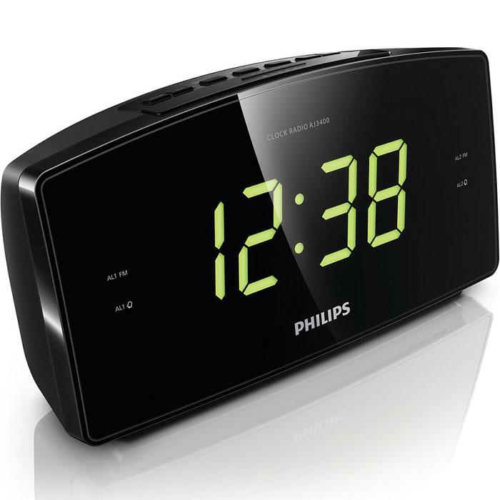 Philips AJ3400/12 радиоприемникAJ3400/12Радио-будильник Philips AJ3400/12 с чистейшим звучанием и цифровой настройкой FM принесут в ваш дом лучшие мелодии и радиостанции. Время отображается на большом дисплее, а встроенный дополнительный источник питания не даст вам проспать даже после отключения электричества. Аудиосистема оснащена цифровым FM-тюнером, что открывает дополнительные возможности для прослушивания музыки. Просто настройте любимую станцию, а затем нажмите и удерживайте кнопку предустановки для запоминания частоты. Благодаря функции сохранения предустановленных радиостанций можно быстро получить доступ к любимой радиостанции, не настраивая ее вручную каждый раз. Большой дисплей позволяет с удобством просматривать информацию. Теперь можно без труда увидеть время или настройки будильника даже на расстоянии. Идеально подходит для людей в преклонном возрасте и людей со слабым зрением.Радио-часы оснащены функцией повтора сигнала, которая не позволит проспать. Если при срабатывании сигнала будильника вы не готовы встать, просто нажмите кнопку повторения сигнала и продолжайте спать. Сигнал будильника прозвучит снова спустя девять минут. Кнопку повторения сигнала можно нажимать каждые девять минут до тех пор, пока вы не отключите будильник. Двойной будильник разбудит вас в одно время, а вашего близкого человека — в другое. Таймер отключения позволяет установить, как долго вы хотите слушать музыку или выбранную радиостанцию перед сном. Тип элемента питания: AAAКоличество батарей: 2Таймер отключения: 15 / 30 / 60 / 90 / 120 мин
