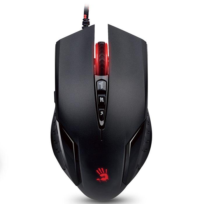 A4Tech Bloody V5M, Black игровая мышьV5MA4Tech Bloody V5M - проводная игровая мышь с 5 режимами разрешения. Автоматическое подавление отдачи обеспечивает максимальную четкость выстрелов. Возможность выбора режима стрельбы нажатием одной кнопки и время отклика до 1 мс делает это устройство идеальным выбором для любого геймера.Встроенная память: 160 КБИнтерфейс: USBУскорение: 30gСрок жизни кнопок: 10 млн. кликов