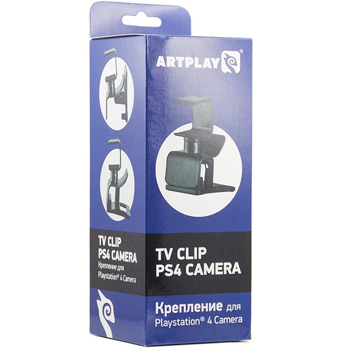 Artplays Крепление для камеры PlayStation 4PS-4002Крепление Artplays TV Clip позволяет крепить камеру PS4 к любому плоскоэкранному монитору или телевизору толщиной до 3 см, сохраняя полную функциональность. Возможна установка на любую плоскую поверхность, что облегчает выбор места для установки камеры. Шарнирное соединение позволяет регулировать угол наклона камеры. Угол отклонения по вертикали 30 градусов.