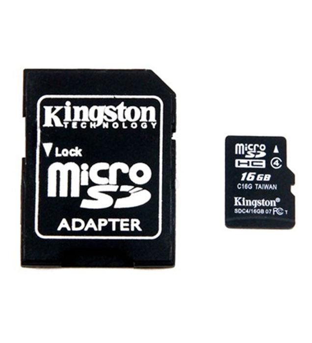 Kingston microSDHC Class 4 16GB карта памяти с адаптеромSDC4/16GBКарты microSDHC позволяют хранить большие объемы музыки, видео, изображений, игр в современных мобильных устройствах. Флэш-карты microSDHC относятся к 4 скоростному классу, т.е. максимальная скорость передачи данных составляет 4 Мб/с.По размерам карты microSDHC совпадают с картами microSD, но совместимы только с устройствами, поддерживающими стандарт microSDHC в соответствии со спецификацией SD Specification Version 2.0. Карты microSDHC можно использовать с адаптером как полноразмерные карты SDHC.Внимание: перед оформлением заказа, убедитесь в поддержке Вашим электронным устройством карт памяти данного объема.