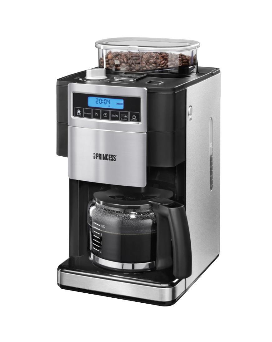 Princess DeLuxe 249402 кофеваркаDeLuxe 249402Кофеварка со встроенной кофемолкой. Свежий кофе в любое время! Процесс перемалывания зерен и крепость кофе регулируются. Объем загружаемых зерен 250 грамм. Перемолотый кофе автоматически помещается в специальный фильтр. Кофемолку можно отключить, чтобы заварить свой любимый кофе, например, без кофеина. Кофеварка имеет емкость 1,25 л, подходит для 10 до 12 чашек, имеет анти-капельную систему, плиту, 24-часовой таймер. Автоматически выключается. Полностью электронное управление.