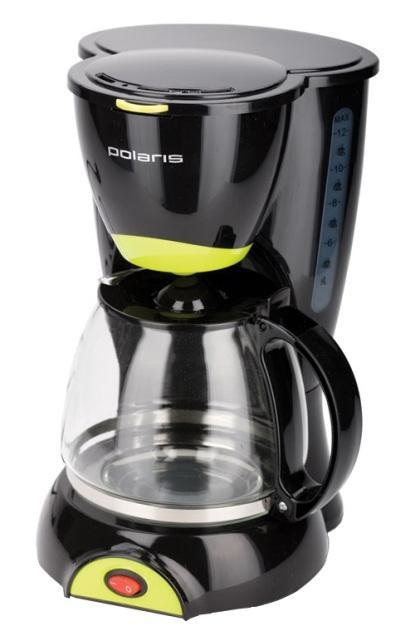 Polaris PCM 1211 кофеваркаPCM 1211 Black-GreenКофеварка PCM 1211 от Polaris обладает такими неоспоримыми достоинствами, как антикапельная система и функция поддержания температуры готового кофе. Эта модель сможет приготовить сразу 10-12 чашек напитка, а правильно дозировать молотый кофе вам поможет входящая в комплект мерная ложечка. прозрачный резервуар для воды и индикатор количества воды избавят Вас от неприятных сюрпризов в работе кофеварки, а световой индикатор работы покажет, что устройство готово к работе.В число неоспоримых достоинств модели входят также съемный моющийся фильтр и выдвигающаяся корзина для фильтра.Кофеварка PCM 0210 вместимостью в две чашечки вооружена съемным контейнером, в каком комфортно размещается нейлоновый фильтр. Мерная ложечка, входящая в набор поставки, поможет просто дозировать молотый кофе, а две глиняние чашечки, которые Вы также отыщите в коробке, совершенно дополнят композицию и приятно лягут в руку.
