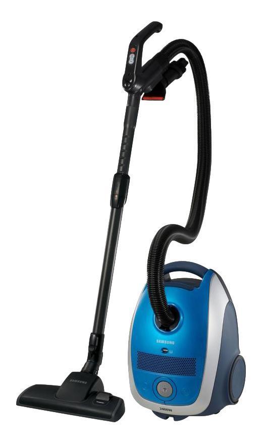 Samsung SC-61B4, Blue пылесосSC-61B4 BlueЧисто и экологично.Проявляя заботу об охране окружающей среды, компания Samsung с гордостью представляет технологию Eco-wave, одно из самых эффективных экологичных решений, используемых в современных пылесосах . Мы начали с создания пылесосов мощностью от 1400 Вт., но обладающих эффективностью, присущей пылесосам мощностью 2200 Вт.. Тюею мы обеспечили уменьшение энергопотребления на 30%. Если добавить к этому меньшее количество пыли на выходе пылесоса, меньше уровень рабочего шума и наличие фильтра микрочастиц HEPA,, то можно сказать, что мы создали самые эффективные и экологичные пылесосы, представленные на современном рынке пылесосовПоворотный шланг с возможность поворота щетки на 360 градусов обеспечивает комфорт и удобство во время чистки.Система 2-Way parking позволяет пользователю зафиксировать трубку в двух положениях как при уборке, так и после уборки