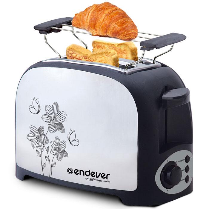 Endever Skyline 117-ST тостерST-117Электрический тостер Endever Skyline ST-117 – удобный кухонный прибор для повседневного использования. Он незаменим для тех, кто предпочитает завтракать быстро и вкусно. С его помощью можно легко приготовить румяные ароматные тосты, которые являются неизменным дополнением к утреннему кофе. Кроме того, хрустящие поджаренные ломтики хлеба станут прекрасной основой для создания различных сэндвичей и легких перекусов.3 режима работы: поджаривание, подогрев, разморозка7 регулировок степени поджариванияСъемная решетка для подогрева выпечки