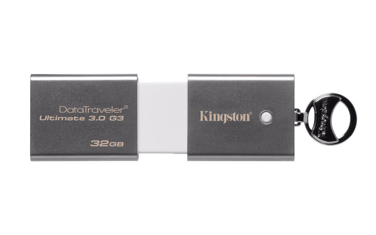 Kingston DataTraveler Ultimate 3.0 G3 32GB USB-накопительDTU30G3/32GBНакопители DataTraveler Ultimate 3.0 Generation 3 компании Kingston поддерживают технологию USB 3.0, которая обеспечивает высочайшую скорость передачи данных — до 150МБ/с при чтении и 70МБ/с при записи (для USB 3.0). Теперь Вы можете с легкостью переносить фотографии высокого разрешения, видео в формате HD, музыку и многое другое, пользуясь всеми преимуществами высокой скорости передачи данных. Накопители имеют современный внешний вид и отлично подойдут для использования с компьютерами Mac и другими стильными мобильными устройствами. Накопители совместимы с Mac и Windows и поддерживают обратную совместимость с разъемами USB 2.0. Они имеют пятилетнюю гарантию, бесплатную техническую поддержку и отличаются легендарной надежностью Kingston.