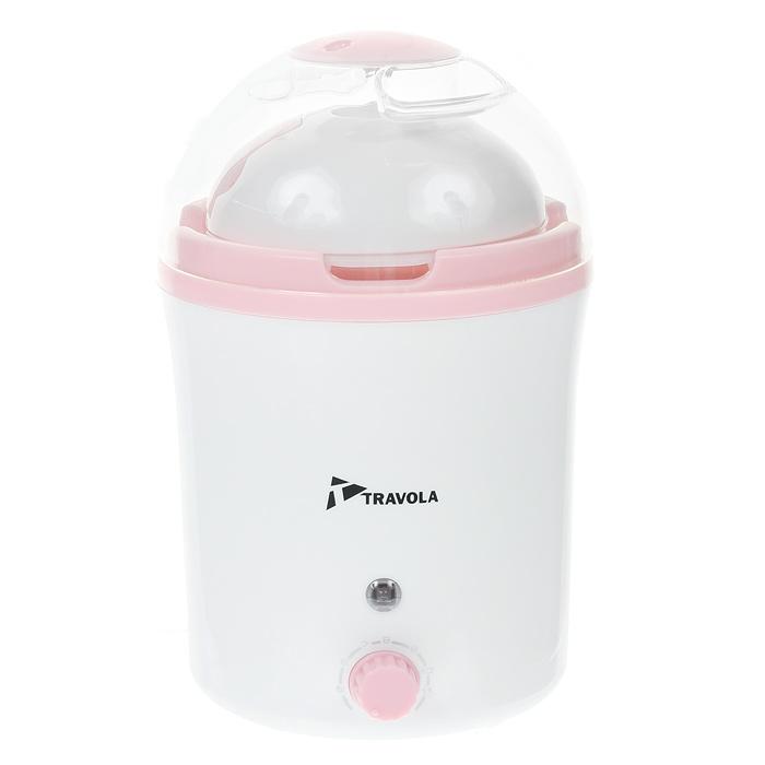 Travola MD-1000S, White Pink йогуртница с таймеромMD-1000SУстройство для приготовления йогуртов Travola MD-1000S. С его помощью Вы сможете приготовить полезный для здоровья кисломолочный продукт. Йогуртница оснащена таймером на 12 часов со звуковым сигналом окончания процесса приготовления.Световой индикатор Питание от сети 220ВИнструкция по применению:- Перед использованием вымойте чашу и крышку в теплой воде с небольшим добавлением моющего средства. Высушите.- Для приготовления йогурта Вам понадобится 1литр молока и обезжиренный йогурт.-Залейте в миску баночку йогурта и молоко. Взбейте миксером. Если Вы слегка подогреете молоко, процесс приготовления йогурта получится быстрее.- Залейте полученную смесь в чашу.- Закройте крышкой.- Включите йогуртницу в сеть.- Через 5-10 часов отключите йогуртницу от сети.- Поставьте чашу в холодильник на 1-2 часа для охлаждения. После охлаждения йогурт готов к употреблению.- После подключения йогуртницы к электросети не перемещайте ее. Располагайте устройство вдали от источников вибрации, в защищенном от толчков месте. - Не приподнимайте крышку йогуртницы во время цикла приготовления - это может нарушить процесс ферментации. - При определенных условиях эксплуатации возможна значительная конденсация водяного пара. Чтобы избежать попадания воды в баночки с йогуртом, рекомендуем при снятии крышки всегда опрокидывать ее назад по отношении к йогуртнице. - Храните приготовленный йогурт в холодильнике не более 8 дней. - Время приготовления зависит от желаемых результатов. От 5 до 10 часов - от питьевого до густого йогурта.