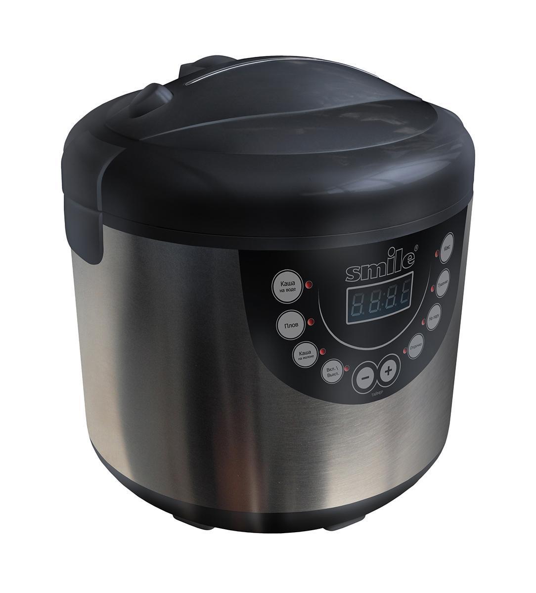 Smile MPC 1141 мультиваркаMPC 1141Мультиварка Smile MPC 1141 - автономный полифункциональный прибор для простого и удобного приготовления пищи для всей семьи. В мультиварке запрограммировано шесть фиксированных режимов приготовления пищи, ручной режим дает возможность приготовления разных блюд: каши, плов, молочные блюда, выпечку, также есть функции тушения и приготовления на пару. С помощью функции отсрочки приготовления вы можете задать любое время начала приготовления. Автоматический режим подогрева, который включается после того, как приготовление закончено, позволит сохранить блюдо горячим в течение 17 часов после приготовления.Режимы приготовления блюд: каши, тушение, выпечка, плов, режим пароварки, помогут приготовить все разнообразие блюд. В мультиварке так же можно приготовить супы, холодец и даже тушенку. Ручной режим даст возможность готовить по собственным рецептам и создаст возможность для кулинарного творчества. Дисплей поможет следить за программой приготовления, отражая стадии на котором находиться блюдо, также дисплей сообщит, когда блюдо готово. УВАЖАЕМЫЕ КЛИЕНТЫ!Обращаем ваше внимание на тот факт, что объем чаши указан максимальный, с учетом полного наполнения до кромки. Шкала на внутренней стенке имеет меньший литраж.