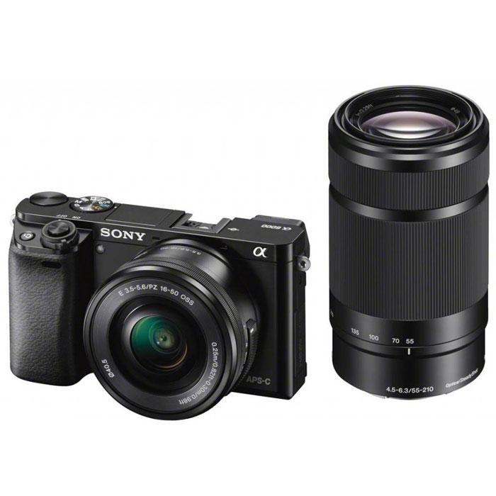 Sony Alpha A6000Y Kit 16-50 mm + 55-210 mm, Black цифровая фотокамераILCE6000YB.CECSony Alpha A6000 - фотокамера со сменными объективами объединяет в себе сильные стороны фазового и контрастного автофокуса.Технология 4D FOCUS обеспечивает непревзойденную работу системы автофокуса в четырех измерениях: широкая зона охвата (2 измерения по горизонтали и вертикали), скорость работы автофокуса (3-е измерение, глубина) и следящий автофокус с упреждением (4-е измерение, время). Система автофокуса камеры A6000 работает быстрее, чем на цифровых зеркальных камерах, а потому вы не упустите ни единого момента. Теперь вы также можете подобрать цвет камеры под свой индивидуальный стиль. Скорость 0,06 секунды гарантирует получение идеальных снимков в любых условиях: на семейных событиях, спортивных мероприятиях или на природе.Качественная матрицаСекрет очень прост — чем крупнее матрица, тем крупнее формат изображения. Камера ?6000 превосходит многие модели в своей категории: матрица типа APS-C в 1,6 раза крупнее матриц типа 4/3 и в 13 раз — матриц типа 1/2.3 обычных компактных цифровых камер. В результате каждый снимок удивляет поразительным качеством. Новый процессор работает в 3 раза быстрее предыдущих моделей. BIONZ X точно захватывает текстуры, уменьшает размытие деталей и даже устраняет шум в конкретных областях для создания четких фото- и видеоизображений. Необычайно высокий диапазон ISO позволяет делать естественные и детальные снимки при низком освещении или при съемке в помещении без вспышки.Кинематографическая съемкаБлагодаря разрешению Full 1080 HD 60p или 24p вам доступна художественная видеосъемка движения «как на кинопленке». Автофокусировка по глазам и функция фиксации позволяют камере самостоятельно настраивать фокусировку, что дает вам возможность сосредоточиться на содержании сцены. «Заморозьте» объект съемки на скорости 11 кадров/с и получите эффектные кадры нужных моментов.OLED Tru-Finder — профессиональный инструмент A6000, обрабатывающий большие объемы данных