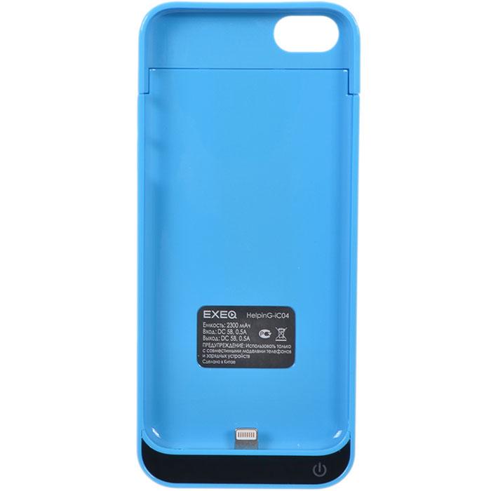 EXEQ HelpinG-iC04 чехол-аккумулятор для iPhone 5/5s/5c, Blue (2300 мАч, клип-кейс)HelpinG-iC04 BUЧехол EXEQ HelpinG-iC04 не только надежно защитить ваш смартфон, но и прекрасно подойдет к цветовой гамме корпуса смартфона. Кроме яркой цветовой гаммы EXEQ HelpinG-iС04 также имеет компактный и эргономичный дизайн, благодаря которому его присоединение к смартфону практически не повлияет на габариты последнего. Но самое главное, благодаря чехлу-аккумулятору ваш iPhone сможет работать в два раза дольше! Привлекательный дизайн, компактные габариты и увеличение автономной работы телефона – что еще нужно для идеального аксессуара к вашему смартфону?Зарядка аккумулятора чехла происходит от зарядного устройства телефона и при этом телефон не обязательно извлекать из чехла. Достаточно просто подключить зарядное к чехлу и нажать на кнопку питания на чехле – и начнется зарядка телефона. Если кнопку питания не нажимать, то начнется зарядка чехла-аккумулятора. Приятным дополнением чехла EXEQ HelpinG-iС04 также является наличие встроенной подставки, которая сможет поддерживать ваш смартфон в горизонтальном положении, например, для просмотра фильма или чтения электронных книг.