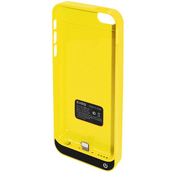 EXEQ HelpinG-iC04 чехол-аккумулятор для iPhone 5/5s/5c, Yellow (2300 мАч, клип-кейс)HelpinG-iC04 YEЧехол EXEQ HelpinG-iC04 не только надежно защитить ваш смартфон, но и прекрасно подойдет к цветовой гамме корпуса смартфона. Кроме яркой цветовой гаммы EXEQ HelpinG-iС04 также имеет компактный и эргономичный дизайн, благодаря которому его присоединение к смартфону практически не повлияет на габариты последнего. Но самое главное, благодаря чехлу-аккумулятору ваш iPhone сможет работать в два раза дольше! Привлекательный дизайн, компактные габариты и увеличение автономной работы телефона – что еще нужно для идеального аксессуара к вашему смартфону?Зарядка аккумулятора чехла происходит от зарядного устройства телефона и при этом телефон не обязательно извлекать из чехла. Достаточно просто подключить зарядное к чехлу и нажать на кнопку питания на чехле – и начнется зарядка телефона. Если кнопку питания не нажимать, то начнется зарядка чехла-аккумулятора. Приятным дополнением чехла EXEQ HelpinG-iС04 также является наличие встроенной подставки, которая сможет поддерживать ваш смартфон в горизонтальном положении, например, для просмотра фильма или чтения электронных книг.