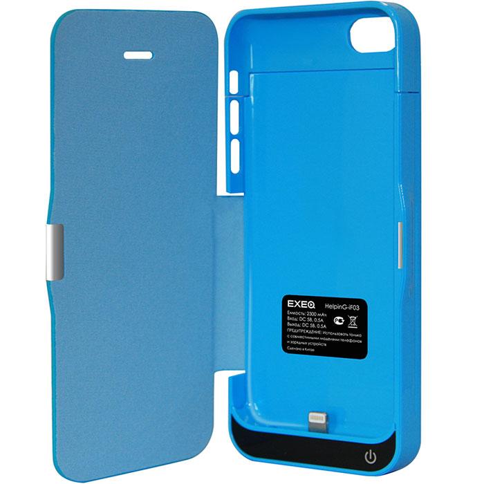 EXEQ HelpinG-iF03 чехол-аккумулятор для iPhone 5/5s/5c, Blue (2300 мАч, флип-кейс)HelpinG-iF03 BUExeq HelpinG-iF03 имеет откидную крышку для надежной защиты экрана. С Exeq HelpinG-iF03 вы получите не только надежный защитный чехол, но и яркий аксессуар, идеально подходящий под цветовую гамму вашего iPhone. А с помощью встроенного аккумулятора вы сможете еще дольше наслаждаться широкими возможностями своего смартфона – чехол-аккумулятор Exeq HelpinG-iF03 сможет увеличить часы автономной работы вашего смартфона в два раза! Слушайте любимые мелодии, просматривайте популярные видеоролики, общайтесь в соцсетях и забудьте о постоянно разряжающейся батарее! Зарядка чехла-аккумулятора Exeq HelpinG-iF03 происходит аналогично зарядке телефона – от зарядного устройства телефона. Причем при любой зарядке телефон из чехла извлекать не нужно. Просто подключите зарядное устройство от телефона к чехлу и нажмите кнопку питания на чехле – телефон начнет заряжаться. Если кнопу питания не нажимать – начнется зарядка чехла.