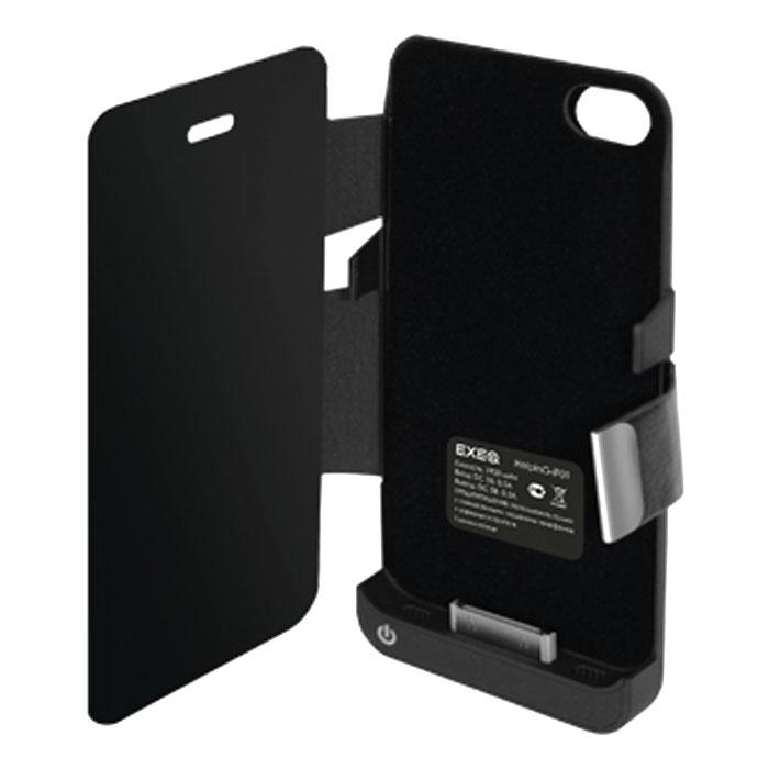 EXEQ HelpinG-iF01 чехол-аккумулятор для iPhone 4/4S, Black (1900 мАч., флип)HelpinG-iF01 BLExeq HelpinG-iF01 чехол, который практически полностью повторяет дизайн iPhone 4S и 4, а благодаря компактным размерам чехол совсем незначительно увеличивает размеры данного смартфона, обеспечивая при этом надежную защиту устройства от царапин, грязи и ударов. И что самое главное чехол защищает не только заднюю поверхность телефона, но и дисплей специальной откидной крышкой. Кроме прекрасной защитной функции HelpinG-iF01 также позволяет увеличивать и работоспособность смартфона в несколько раз, благодаря встроенному аккумулятору. Слушайте любимые мелодии, смотрите сериалы, бороздите просторы интернета - с Exeq HelpinG- iF01 вам больше не придется беспокоиться о батарее вашего смартфона! Зарядка Exeq HelpinG- iF01 происходит аналогично зарядке телефона - от зарядного устройства телефона. Причем при любой зарядке телефон из чехла извлекать не нужно. Просто подключите зарядное устройство от телефона к чехлу и нажмите кнопку питания на чехле - начнется зарядка телефона. Если кнопу питания не нажимать - начнется зарядка чехла-аккумулятора.Время зарядки чехла: 2,2 часаПодставкаТип конструкции: флип-кейсМатериал: пластик