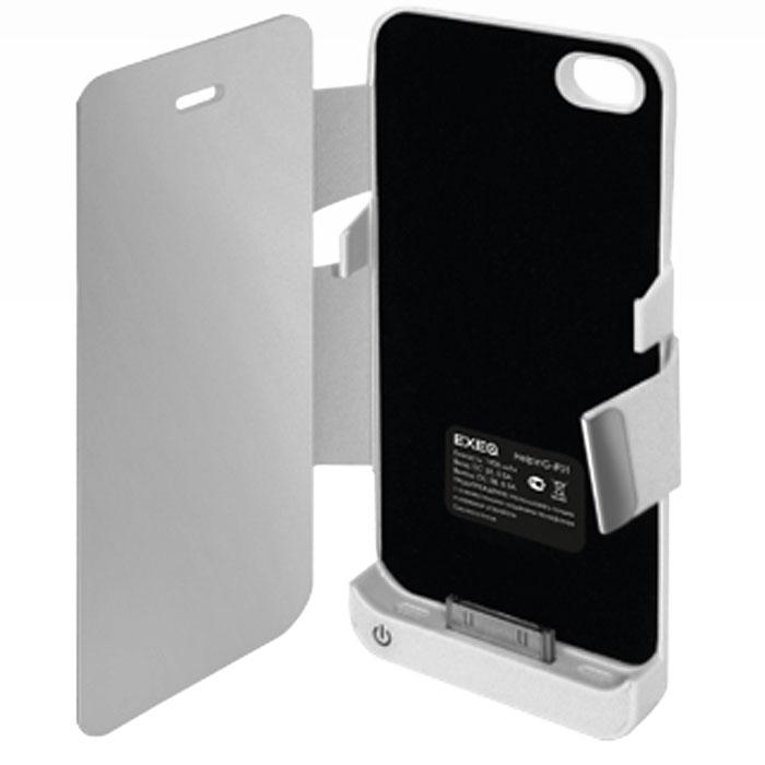 EXEQ HelpinG-iF01 чехол-аккумулятор для iPhone 4/4S, White (1900 мАч, флип)HelpinG-iF01 WHExeq HelpinG-iF01 чехол, который практически полностью повторяет дизайн iPhone 4S и 4, а благодаря компактным размерам чехол совсем незначительно увеличивает размеры данного смартфона, обеспечивая при этом надежную защиту устройства от царапин, грязи и ударов. И что самое главное чехол защищает не только заднюю поверхность телефона, но и дисплей специальной откидной крышкой. Кроме прекрасной защитной функции HelpinG-iF01 также позволяет увеличивать и работоспособность смартфона в несколько раз, благодаря встроенному аккумулятору. Слушайте любимые мелодии, смотрите сериалы, бороздите просторы интернета - с Exeq HelpinG- iF01 вам больше не придется беспокоиться о батарее вашего смартфона! Зарядка Exeq HelpinG- iF01 происходит аналогично зарядке телефона - от зарядного устройства телефона. Причем при любой зарядке телефон из чехла извлекать не нужно. Просто подключите зарядное устройство от телефона к чехлу и нажмите кнопку питания на чехле - начнется зарядка телефона. Если кнопу питания не нажимать - начнется зарядка чехла-аккумулятора.Время зарядки чехла: 2,2 часаПодставкаТип конструкции: флип-кейсМатериал: пластик