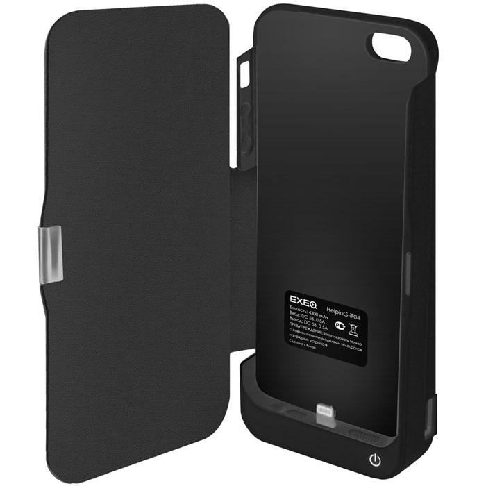 EXEQ HelpinG-iF04 чехол-аккумулятор для iPhone 5/5s, Black (4300 мАч, USB-порт, флип-кейс)HelpinG-iF04 BLExeq HelpinG-iF04 обладает встроенным аккумулятором, благодаря которому он способен продлить часы работы смартфона в несколько раз! Также благодаря значительной емкости и наличию USB-порта чехол сможет подзарядить и другие электронные устройства, например MP3-плеер или компактную игровую приставку. Эргономичная и стильная конструкция Exeq HelpinG-iF04 позволит не только удобно присоединить чехол к смартфону, но и надежно защитить телефон от царапин, ударов и загрязнений. Приятным дополнением дизайна чехла-аккумулятора является наличие встроенной подставки, которая позволит удобно разместить смартфон в горизонтальном положении, например для просмотра видео или видео-общения по скайпу. Заряжается чехол-аккумулятор Exeq HelpinG-iF04 от зарядного устройства телефона, причем заряжать оба устройства можно не извлекая телефон из чехла. Так для зарядки телефона просто подсоедините зарядное устройства к чехлу и нажмите кнопку питания на чехле, а для зарядки чехла просто подсоедините зарядное устройство к нему.