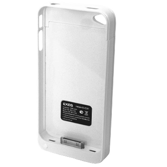 EXEQ HelpinG-iC01 чехол-аккумулятор для iPhone 4/4S, White (1900 мАч, клип-кейс)HelpinG-iC01 WHЧехол Exeq HelpinG-iC01 надежно защитит заднюю и боковые панели вашего смартфона от ударов и царапин, а встроенный аккумулятор обеспечит дополнительную подпитку батареи в самые необходимые моменты. При этом чехол-аккумулятор имеет настолько компактные размеры, что его подсоединение практически не повлияет на габариты самого смартфона. Да и весит чехол HelpinG-iC01 всего 65 г, что также не сильно утяжелит ваш любимый смартфон.В качестве приятного дополнения чехол-аккумулятор имеет выдвижную подставку. Специальная конструкция чехла с выдвижной верхней частью позволит удобно и надежно поместить телефон в чехол, а при необходимости легко и быстро достать телефон из чехла. Хотя извлекать телефон из надежного HelpinG-iC01 вам вряд ли понадобится – заряжать телефон можно непосредственно в чехле, подключив к нему зарядное устройство телефона и нажав кнопку питания на чехле (если кнопку питания не нажимать, то будет происходить зарядка чехла-аккумулятора). Аналогично происходит и подключение телефона к компьютеру – чехол-аккумулятор Exeq HelpinG обеспечивает идеальную передачу данных между смартфоном и другими электронными устройствами.