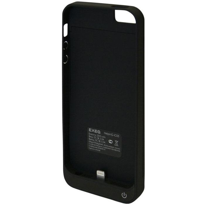 EXEQ HelpinG-iC05 чехол-аккумулятор для iPhone 5/5s, Black (2300 мАч, клип-кейс)HelpinG-iC05 BLЭлегантный дизайн, надежная защита и своевременная подзарядка смартфона - что еще нужно для идеального чехла к вашему iPhone? Exeq HelpinG-iС05 сполна отвечает всем этим требованиям! Специальная конструкция чехла с выдвижной верхней частью позволит быстро поместить устройство в чехол. Компактный дизайн Exeq HelpinG-iC05 совсем не значительно увеличит габариты самого смартфона и даже его вес, но при этом обеспечит идеальную защиту задней поверхности и боковин телефона от царапин и загрязнений. Но самое главное встроенный аккумулятор позволит увеличить часы работы вашего смартфона в 2 раза! Еще больше разговоров, музыки и интернет-серфинга на вашем любимом iPhone!Зарядка Exeq HelpinG-iC05 происходит от зарядного устройства телефона и при этом телефон не обязательно извлекать из чехла. Достаточно просто подключить зарядное устройство к чехлу и начнется зарядка чехла-аккумулятора. Для зарядки телефона при подключении зарядного устройства необходимо нажать кнопку питания на чехле. Приятным дополнением чехла Exeq HelpinG- iC05 также является наличие встроенной подставки, которая сможет поддерживать ваш смартфон в горизонтальном положении, например, для просмотра фильма.Время зарядки чехла: 2,5 часаПодставкаТип конструкции: клип-кейсМатериал: пластик