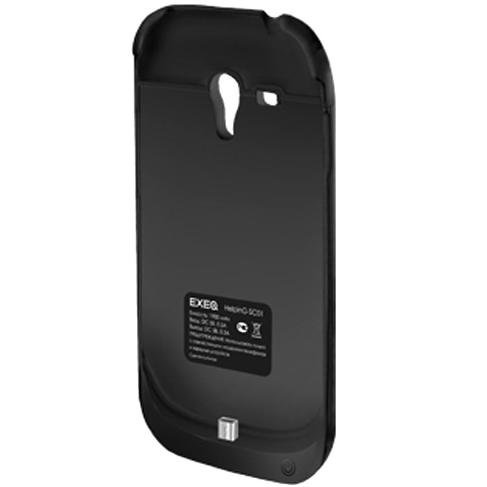 EXEQ HelpinG-SC01 чехол-аккумулятор для Samsung Galaxy S3 mini, Black (1900 мАч, клип-кейс)HelpinG-SC01 BLExeq HelpinG-SС01 – компактный чехол-аккумулятор для Samsung Galaxy S3 Mini. Дополнительный аккумулятор позволит повысить работоспособность вашего смартфона как минимум вдвое. Защитный чехол Exeq HelpinG-SС01 обеспечит надежную защиту смартфона от царапин, острых предметов и прочих внешних воздействий. Компактные размеры чехла и лаконичный дизайн позволят не только удобно и быстро поместить смартфон в чехол, но и совсем незначительно увеличат размеры и вес самого смартфона. Exeq HelpinG-SС01 станет просто великолепным аксессуаром для активных пользователей Samsung Galaxy S3 Mini, а также для тех, кто много времени проводит в дороге или собирается на отдых. Зарядка чехла-аккумулятора происходит от зарядного устройства телефона, при этом аппарат из чехла доставать не нужно. Достаточно просто подсоединить зарядное к чехлу и зарядка начнется автоматически. Для зарядки телефона необходимо подсоединить зарядное устройство к чехлу и нажать на кнопку питания на чехле. Аналогично происходит и подключение телефона к компьютеру – чехол-аккумулятор Exeq HelpinG-SС01 обеспечивает идеальную передачу данных между смартфоном и другими электронными устройствами.