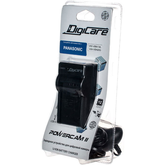 DigiCare Powercam II зарядное устройство для Panasonic VW-VBN130, VW-VBN260PCH-PC-PVBN130Зарядное устройство DigiCare Powercam II применяется для восстановления заряда аккумуляторов Panasonic VW-VBN130, VW-VBN260. Оно может подключаться как к сети переменного тока, так и к гнезду прикуривателя автомобиля через адаптер с разъемом microUSB.
