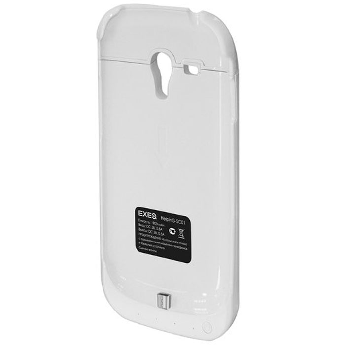 EXEQ HelpinG-SC01 чехол-аккумулятор для Samsung Galaxy S3 mini, White (1900 мАч, клип-кейс) exeq helping sc09 чехол аккумулятор для samsung galaxy s5 mini black 3300 мач клип кейс