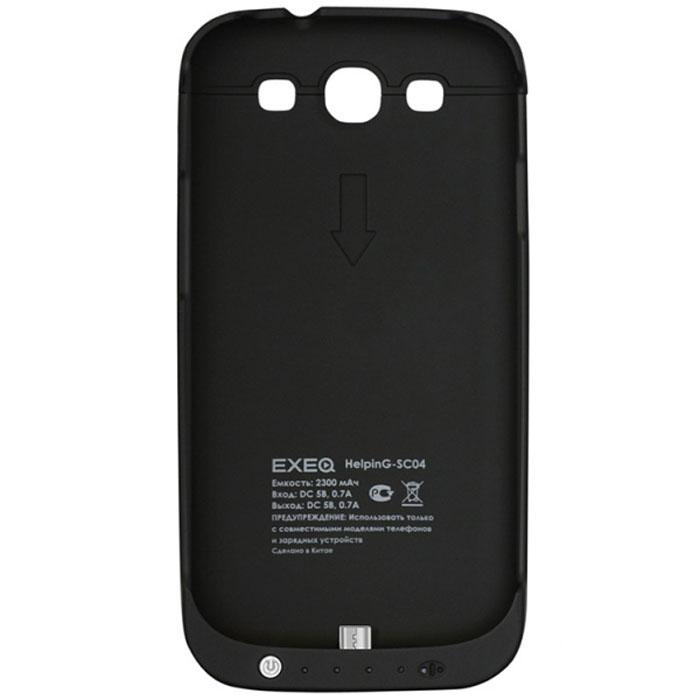 EXEQ HelpinG-SC04 чехол-аккумулятор для Samsung Galaxy S3, Black (2300 мАч, клип-кейс)HelpinG-SC04 BLExeq HelpinG-SС04 – компактный и практичный чехол-аккумулятор для Samsung Galaxy S3. Аксессуар выполнен из прорезиненного пластика, благодаря которому он сможет обеспечить надежную защиту смартфона от ударов, царапин и загрязнений. А благодаря встроенному аккумулятору Exeq HelpinG-SС04 также сможет обеспечить смартфон своевременной подзарядкой и тем самым продлить часы работы смартфона еще на один цикл использования. Чехол имеет компактные размеры и обтекаемую форму – при весе в 95 г, он увеличит толщину смартфона всего на 15 мм. Также в конструкции чехла-аккумулятора предусмотрена откидывающаяся подставка, которая позволит удобно разместить смартфон для просмотра видео или чтения электронных книг.Зарядка чехла-аккумулятора Exeq HelpinG-SС04 происходит через адаптер от смартфона. При чем для зарядки не требуется снимать чехол: просто подключите зарядное устройство к чехлу и зарядка начнется автоматически. Для подзарядки телефона необходимо подключить адаптер к чехлу и нажать кнопку питания на чехле.