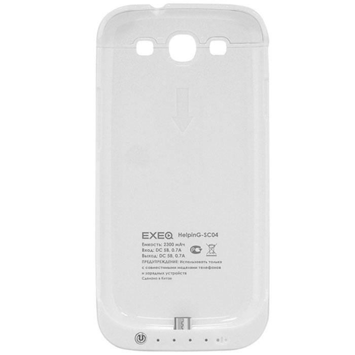 EXEQ HelpinG-SC04 чехол-аккумулятор для Samsung Galaxy S3, White (2300 мАч, клип-кейс)HelpinG-SC04 WHExeq HelpinG-SС04 – компактный и практичный чехол-аккумулятор для Samsung Galaxy S3. Аксессуар выполнен из прорезиненного пластика, благодаря которому он сможет обеспечить надежную защиту смартфона от ударов, царапин и загрязнений. А благодаря встроенному аккумулятору Exeq HelpinG-SС04 также сможет обеспечить смартфон своевременной подзарядкой и тем самым продлить часы работы смартфона еще на один цикл использования. Чехол имеет компактные размеры и обтекаемую форму – при весе в 95 г, он увеличит толщину смартфона всего на 15 мм. Также в конструкции чехла-аккумулятора предусмотрена откидывающаяся подставка, которая позволит удобно разместить смартфон для просмотра видео или чтения электронных книг.Зарядка чехла-аккумулятора Exeq HelpinG-SС04 происходит через адаптер от смартфона. При чем для зарядки не требуется снимать чехол: просто подключите зарядное устройство к чехлу и зарядка начнется автоматически. Для подзарядки телефона необходимо подключить адаптер к чехлу и нажать кнопку питания на чехле.