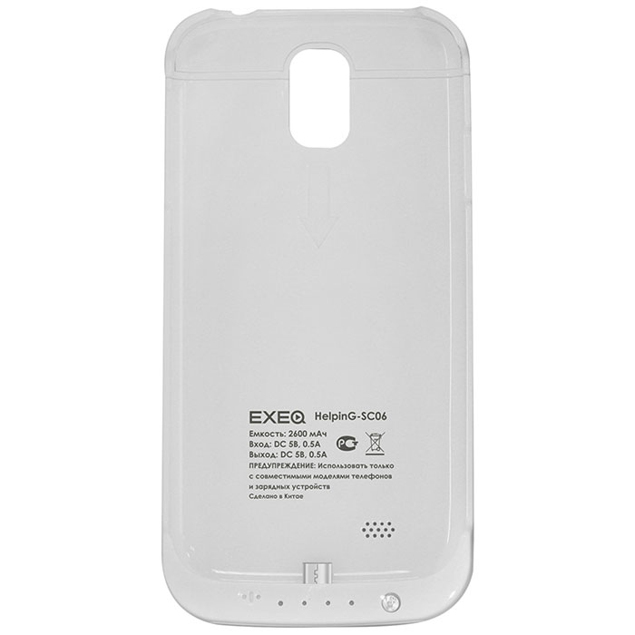 EXEQ HelpinG-SC06 чехол-аккумулятор для Samsung Galaxy S4, White (2600 мАч, клип-кейс) exeq helping sf02 чехол аккумулятор для samsung galaxy s3 mini white 1900 мач флип кейс