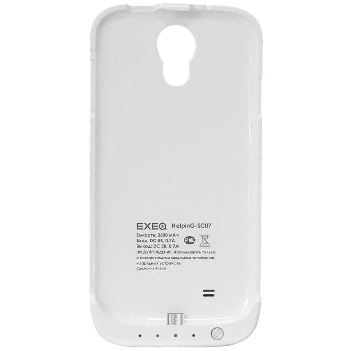 EXEQ HelpinG-SC07 чехол-аккумулятор для Samsung Galaxy S4, White (2600 мАч, клип-кейс)HelpinG-SC07 WHExeq HelpinG-SС07 – стильный и надежный аксессуар для Samsung Galaxy S4. Компактные размеры, элегантный дизайн и прочный материал корпуса позволят Exeq HelpinG-SС07 не только надежно защитит смартфон от ударов, грязи и царапин, но придадут телефону стильный внешний вид! Встроенный аккумулятор обеспечит смартфон своевременной подзарядкой в самые нужные моменты его использования. Специальная металлическая выдвижная подставка позволит удобно расположить телефон при просмотре видео, общении по Skype, чтении книг.Заряжать телефон можно не извлекая его из чехла, просто подключив адаптер смартфона к чехлу-аккумулятору и нажав кнопку питания на чехле (если кнопку не нажимать, то будет происходить зарядка аккумулятора чехла). Также Exeq HelpinG-SС07 обеспечивает идеальную передачу данных при подключении смартфона к компьютеру или другому электронному устройству.