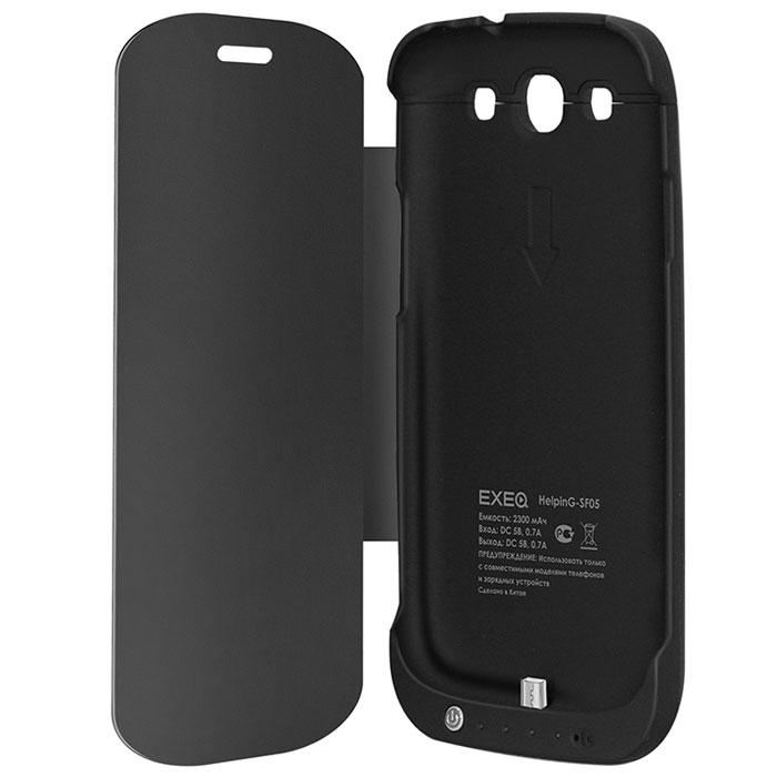 EXEQ HelpinG-SF05 чехол-аккумулятор для Samsung Galaxy S3, Black (2300 мАч, флип-кейс)HelpinG-SF05 BLExeq HelpinG-SF05 – идеальный аксессуар для Samsung Galaxy S3! Идеальность данного устройства заключается в удачном сочетании надежного защитного чехла и дополнительного источника подзарядки батареи смартфона. Специальная конструкция Exeq HelpinG-SF05 обеспечит надежную защиту Samsung Galaxy S3 от различных внешних воздействий: грязи, ударов, царапин, пыли. При этом надежная защита обеспечена также дисплею благодаря специальной крышке. Exeq HelpinG-SF05 оснащен встроенным аккумулятором, зарядки которого вполне хватит на одну полную подзарядку батареи смартфона. Т.е. с чехлом-аккумулятором Exeq HelpinG-SF05 смартфон сможет проработать в два раза дольше!Компактные размеры и обтекаемая форма Exeq HelpinG-SF05 идеально повторяют форму Samsung Galaxy S3 и при этом не сильно увеличивают вес и габариты последнего. Заряжается чехол-аккумулятор от зарядного устройства телефона, причем заряжать оба устройства можно не извлекая телефон из чехла. Так для зарядки чехла-аккумулятора просто подсоедините зарядное устройство к чехлу, а для зарядки телефона, подсоедините зарядное устройство и нажмите кнопку питания на чехле.