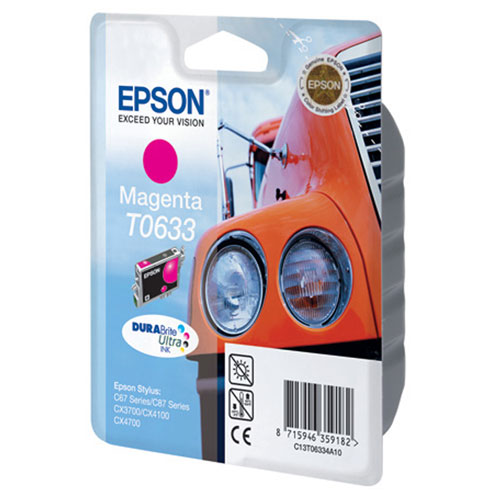 Epson C13T06334A10, Magenta струйный картриджC13T06334A10Картридж Epson T063 с цветными чернилами для струйной печати.