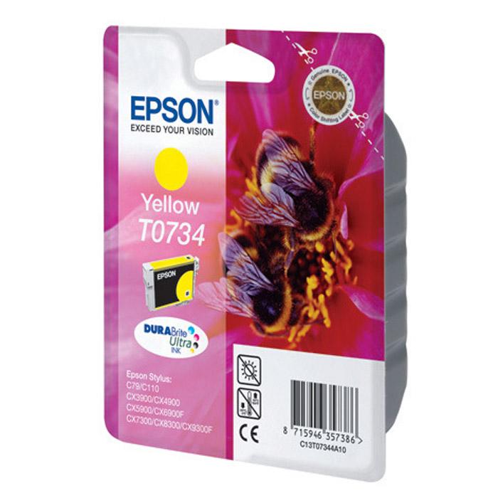Epson T0734 (C13T10544A10), Yellow картридж для C79/C110/CX9300/TX419/TX600C13T10544A10Картридж Epson с цветными чернилами для струйной печати.