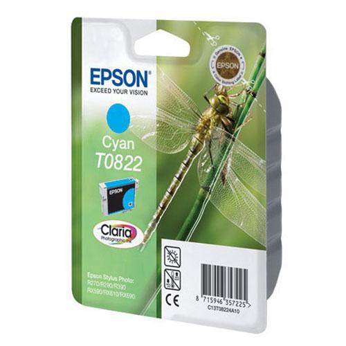 Epson T0822 (C13T11224A10), Cyan картридж для R270/R290/RX590/T50/TX650C13T11224A10Картридж Epson с чернилами для струйной печати.