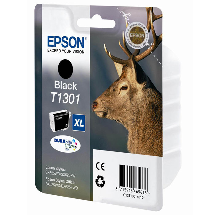 Epson T1301 XL (C13T13014010), Black картридж для SX525/SX620/BX320/BX625C13T13014010Черный картридж экстра повышенной емкости Epson C13T13014010 Black для принтеров Epson Stylus.