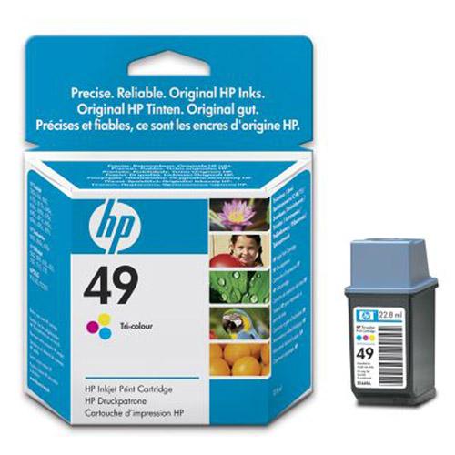 HP 51649AE (49), color51649AEБольшой трехцветный струйный картридж HP 49 имеет печатающую головку инновационной конструкции и чернила улучшенного химического состава на основе красителей для реализации технологии цветной печати Photoret, гарантируя насыщенные долговечные отпечатки на обычной и специализированной бумаге.