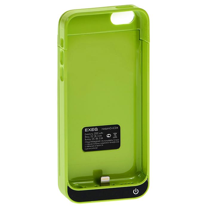 EXEQ HelpinG-iC04 чехол-аккумулятор для iPhone 5/5s/5c, Green (2300 мАч, клип-кейс)HelpinG-iC04 GRЧехол EXEQ HelpinG-iC04 не только надежно защитить ваш смартфон, но и прекрасно подойдет к цветовой гамме корпуса смартфона. Кроме яркой цветовой гаммы EXEQ HelpinG-iС04 также имеет компактный и эргономичный дизайн, благодаря которому его присоединение к смартфону практически не повлияет на габариты последнего. Но самое главное, благодаря чехлу-аккумулятору ваш iPhone сможет работать в два раза дольше! Привлекательный дизайн, компактные габариты и увеличение автономной работы телефона – что еще нужно для идеального аксессуара к вашему смартфону?Зарядка аккумулятора чехла происходит от зарядного устройства телефона и при этом телефон не обязательно извлекать из чехла. Достаточно просто подключить зарядное к чехлу и нажать на кнопку питания на чехле – и начнется зарядка телефона. Если кнопку питания не нажимать, то начнется зарядка чехла-аккумулятора. Приятным дополнением чехла EXEQ HelpinG-iС04 также является наличие встроенной подставки, которая сможет поддерживать ваш смартфон в горизонтальном положении, например, для просмотра фильма или чтения электронных книг.