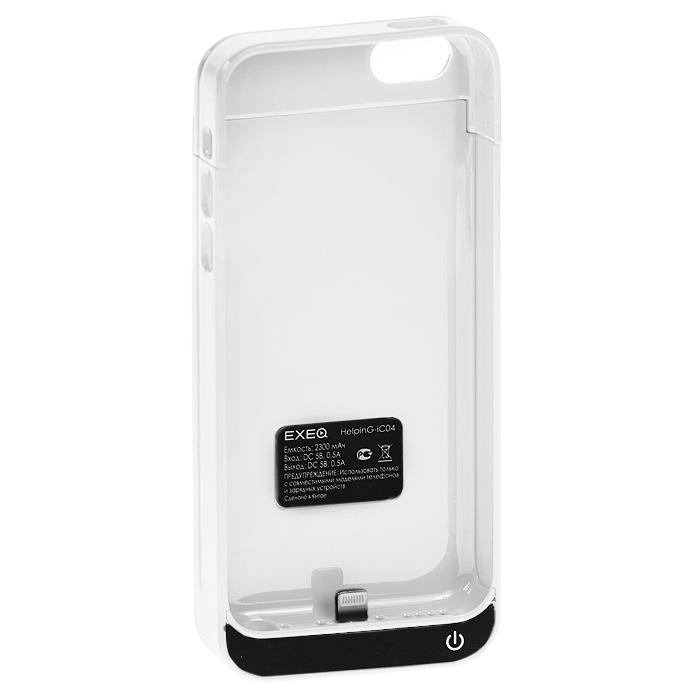 EXEQ HelpinG-iC04 чехол-аккумулятор для iPhone 5/5s/5c, White (2300 мАч, клип-кейс)HelpinG-iC04 WHЧехол EXEQ HelpinG-iC04 не только надежно защитить ваш смартфон, но и прекрасно подойдет к цветовой гамме корпуса смартфона. Кроме яркой цветовой гаммы EXEQ HelpinG-iС04 также имеет компактный и эргономичный дизайн, благодаря которому его присоединение к смартфону практически не повлияет на габариты последнего. Но самое главное, благодаря чехлу-аккумулятору ваш iPhone сможет работать в два раза дольше! Привлекательный дизайн, компактные габариты и увеличение автономной работы телефона – что еще нужно для идеального аксессуара к вашему смартфону?Зарядка аккумулятора чехла происходит от зарядного устройства телефона и при этом телефон не обязательно извлекать из чехла. Достаточно просто подключить зарядное к чехлу и нажать на кнопку питания на чехле – и начнется зарядка телефона. Если кнопку питания не нажимать, то начнется зарядка чехла-аккумулятора. Приятным дополнением чехла EXEQ HelpinG-iС04 также является наличие встроенной подставки, которая сможет поддерживать ваш смартфон в горизонтальном положении, например, для просмотра фильма или чтения электронных книг.