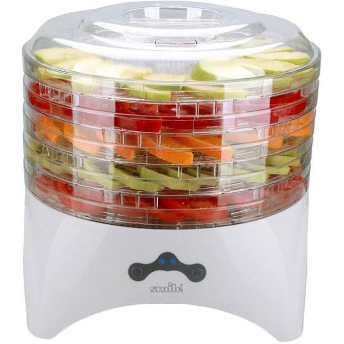 Smile FD 993 сушилка для овощей и фруктовFD 993Сушка продуктов в электросушилках - лучший способ сохранения витаминов и питательных веществ в овощах и фруктах на весь год. Электросушилка Smile FD 993 изготовлена из прочного пластика и предназначена для сушки овощей, грибов и трав в домашних условиях. Встроенный вентилятор обеспечивает равномерную сушку продуктов. Возможна регулировка расстояния между поддонами. Прозрачные поддоны позволяют контролировать процесс высушивания продуктов.Глубина поддона: 1,5 см
