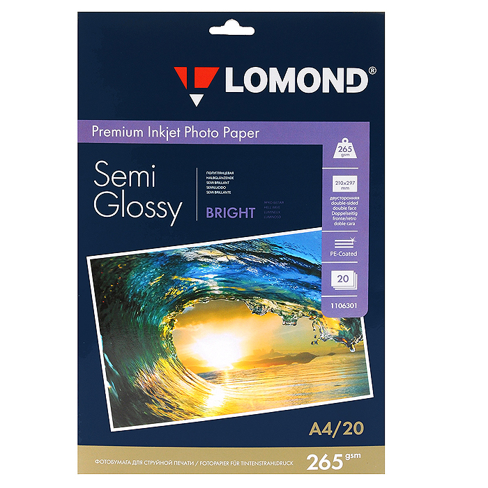 Lomond Premium Photo Paper 265/А4/20 полуглянцевая фотобумага (1106301)