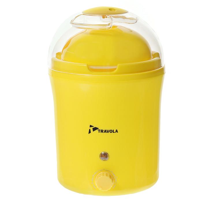 Travola MD-1000S, Yellow йогуртница с таймеромMD-1000SУстройство для приготовления йогуртов Travola MD-1000S. С его помощью Вы сможете приготовить полезный для здоровья кисломолочный продукт. Йогуртница оснащена таймером на 12 часов со звуковым сигналом окончания процесса приготовления.Световой индикатор Питание от сети 220ВИнструкция по применению:- Перед использованием вымойте чашу и крышку в теплой воде с небольшим добавлением моющего средства. Высушите.- Для приготовления йогурта Вам понадобится 1литр молока и обезжиренный йогурт.-Залейте в миску баночку йогурта и молоко. Взбейте миксером. Если Вы слегка подогреете молоко, процесс приготовления йогурта получится быстрее.- Залейте полученную смесь в чашу.- Закройте крышкой.- Включите йогуртницу в сеть.- Через 5-10 часов отключите йогуртницу от сети.- Поставьте чашу в холодильник на 1-2 часа для охлаждения. После охлаждения йогурт готов к употреблению.- После подключения йогуртницы к электросети не перемещайте ее. Располагайте устройство вдали от источников вибрации, в защищенном от толчков месте. - Не приподнимайте крышку йогуртницы во время цикла приготовления - это может нарушить процесс ферментации. - При определенных условиях эксплуатации возможна значительная конденсация водяного пара. Чтобы избежать попадания воды в баночки с йогуртом, рекомендуем при снятии крышки всегда опрокидывать ее назад по отношении к йогуртнице. - Храните приготовленный йогурт в холодильнике не более 8 дней. - Время приготовления зависит от желаемых результатов. От 5 до 10 часов - от питьевого до густого йогурта.