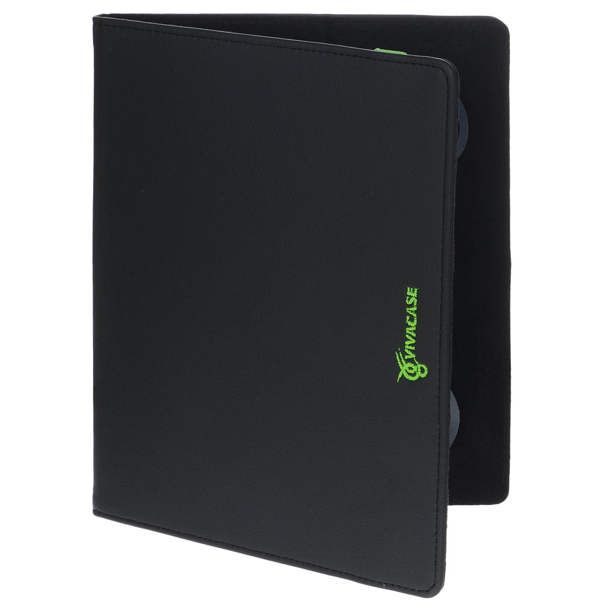 Vivacase Neon универсальный чехол-обложка для планшетов 9, Black Green (VUC-CN009-bg)VUC-CN009-bgУниверсальный чехол Vivacase с резиновым креплением, который подходит для любых популярных планшетов и электронных книг с диагональю дисплея в 9 дюймов. Он изготовлен из качественной ПУ-кожи, которой обтянут прочный каркас, защищающий устройство во время падений. Внутренняя часть отделана мягкой подкладкой, которая не оставляет никаких следов на корпусе и дисплее.Каркас из тонкой и мягкой резины позволяет прочно и надежно закрепить устройство подходящего размера. Для того чтобы установить устройство в альбомной ориентации, удобной для просмотра видео или чтения, чехол имеет подвижную площадку и два углубления, которые позволяют зафиксировать планшет под двумя разными углами.