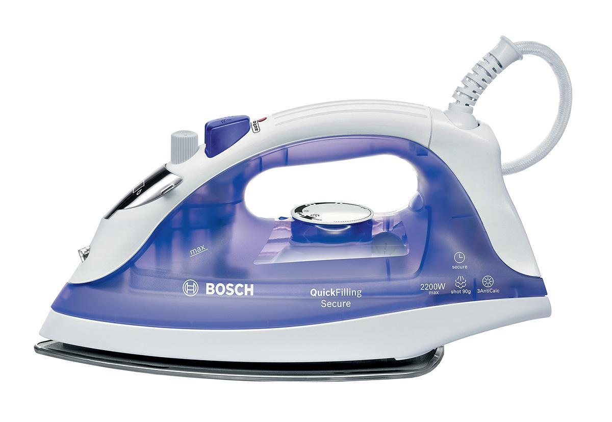 Bosch TDA 2377 утюгTDA2377Утюг Bosch TDA 2377 снабжен системой пароувлажнения, автоотключения и тройной защитой от накипи. Автоотключение утюга: утюг самостоятельно отключится после процесса глажения. что обеспечивает безопасность при глажении. Подошва PalladiumGlissee: специальное керамическое покрытие с отличными возможностями скольжения по ткани вне зависимости от ее типа. 3AntiCalc: тройная система защиты от накипи
