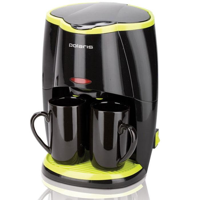 Polaris PCM 0210 кофеваркаPCM 0210Кофеварка Polaris PCM 0210 вместимостью в две чашки оснащена съемным контейнером, в котором удобно располагается нейлоновый фильтр. Мерная ложечка, входящая в комплект поставки, поможет легко дозировать молотый кофе, а две керамические чашки, которые вы также найдете в коробке, идеально дополнят композицию и приятно лягут в руку. Эта модель кофеварки от Polaris отличается съемным поддоном, который будет легко вымыть, а также нескользящей подставкой. Световой индикатор работы также сделает использование кофеварки удобным и приятным.