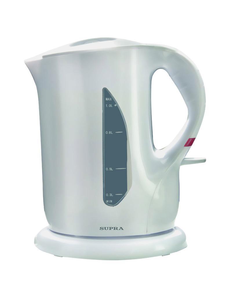 Supra KES-1001 электрочайникKES-1001Побаловать себя и своих близких чашечкой горячего ароматного напитка вам поможет электрический чайник SUPRA KES-1001. Благодаря мощности в 900 Вт нагрев и вскипание воды займет у вас всего пару минут, тем самым время на утренние сборы сократится до минимума. Корпус, выполненный в классическом дизайне, в сочетании с приятным цветовым решением, органично впишется в интерьер любой кухни.
