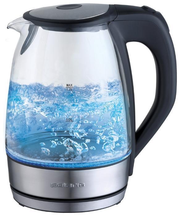 Polaris PWK 1729CGL электрочайникPWK 1729CGLКорпус чайника Polaris PWK 1729CGL выполнен из высококачественного термостойкого стекла, сохраняющего природные свойства воды. Благодаря максимальной мощности 2200 Вт, чайник Polaris PWK 1729CGL за считанные минуты вскипятит 1,7 литра воды. Прозрачный корпус с двусторонней шкалой контроля уровня и внутренней подсветкой позволяет следить за тем, как нагревается вода. Чайник соединён с базой центральным контактом и легко вращается на 360°C градусов. Крышка чайника открывается легким нажатием. Съемный фильтр легко снимается, его можно мыть вручную или в посудомоечной машине. Нагревательный элемент чайника Polaris PWK 1729CGL встроен в плоское дно и надежно защищен стальной пластиной, что делает его чистку максимально удобной. Среди характеристик безопасности использования чайника стоит отметить автоматический и ручной выключатель, а также защиту от перегрева.- Мощность: 1850-2200 Вт. - Емкость: 1,7 л. - Корпус из высококачественной нержавеющей стали. - Двусторонняя шкала уровня воды. - Открытие крышки нажатием на кнопку. - Стальная закругленная база. - Скрытый нагревательный элемент.- Автоматический и ручной выключатель.- Вращающийся корпус на 360°.- Подключение через подставку. - Отсек для хранения шнура.- Защита от перегрева.- Многоразовый фильтр для очистки воды.