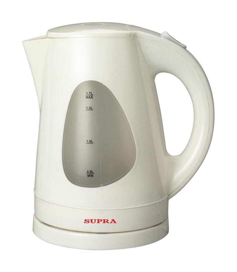 Supra KES-1708, White электрический чайникKES-1708, WhiteЭлектрический чайник Supra KES-1708 украсит и семейное чаепитие, и большое торжественное застолье. В настоящее время электрический чайник является незаменимым прибором в быту многих современных людей, он прекрасно впишется в интерьер Вашей кухни.
